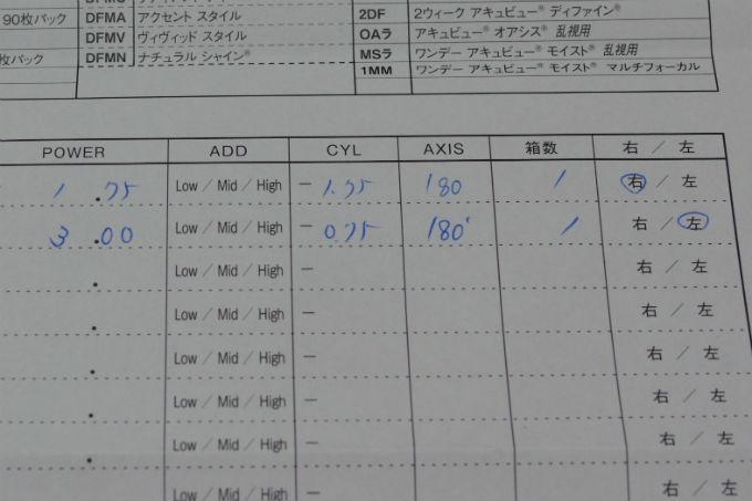 コンタクトレンズ 注文書