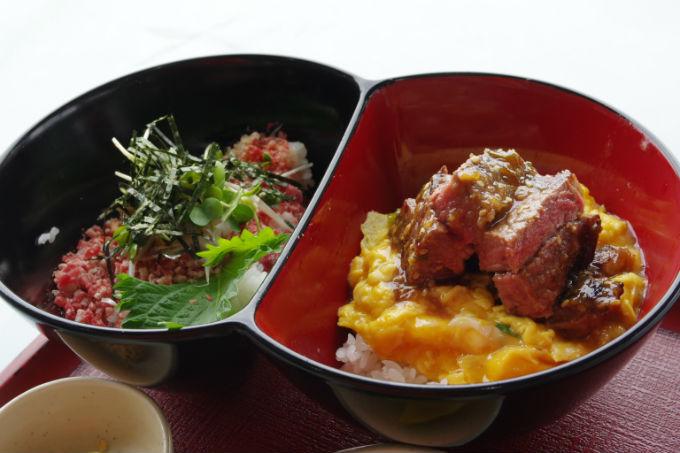 牛玉丼×牛トロ丼 十勝清水夢のミニコラボ丼